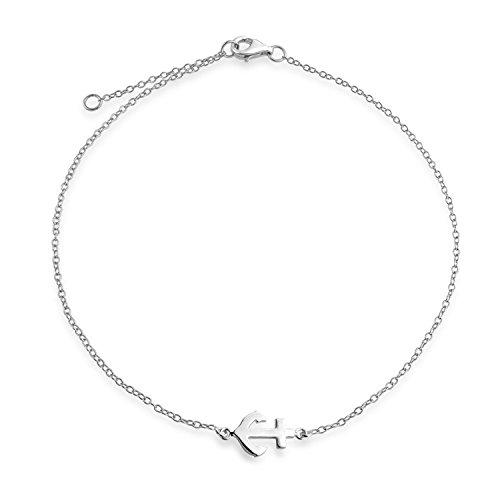 Nautisch Seite Boot Anker Charm Fußkettchen Armband Für Damen 925 Sterling Silber Einstellbar 9 Bis 10 Zoll