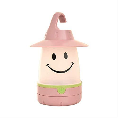 ASYPJP Nachtlicht Kinderzelt Nettes Smiley-Licht Kleines Nachtlicht Energiesparende Kreative Sternenklare Bunte NachttischlampeRosa