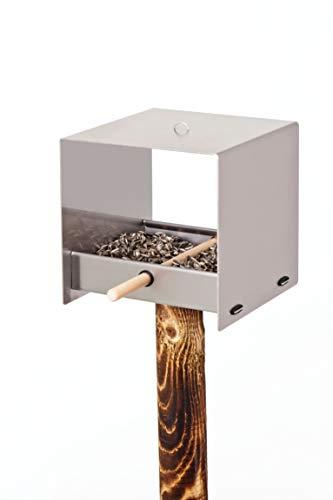 Keilbach Designprodukte 63120 Keilbach, quadratisches Vogelhaus tweet, aus Edelstahl, Grau, One Size