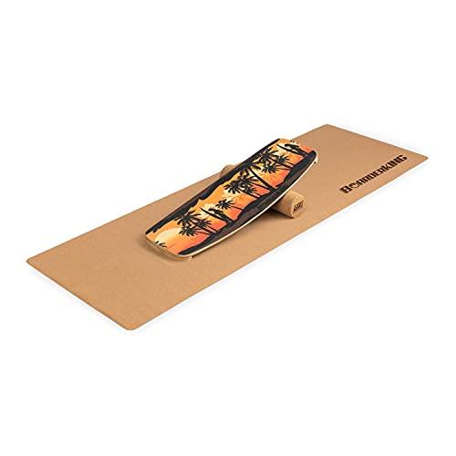 BoarderKING Indoorboard Limited Edition - Balanceboard, Waveboard, Trickboard, Rouleau de liège 10/40, Tapis de Protection de Sol antidérapant, Matériau: Bois et liège - Jaune