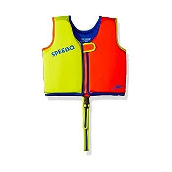 Speedo Unisex-Child Swim Flotation Classic Life Vest Begin to Swim UPF 50 Lime/Orange Medium