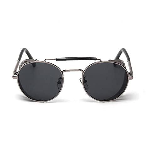 1PC redondo retro Steampunk Gafas de sol con marco de metal ligero Protector Lateral sol del deporte de las gafas de sol de protección UV para el hombre y la mujer (negro) artes de pesca Pesca Gafas