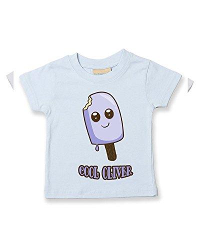 T-shirt pour bébé/enfant en coton doux avec nom personnalisable - Bleu - 2-3 ans