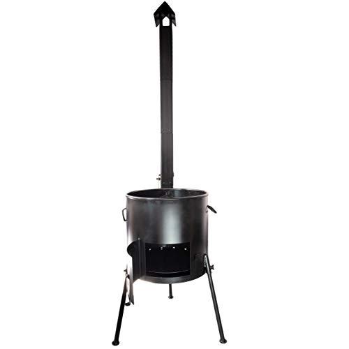 4BIG.Fun Utschag Uchag Campingofen Feuerstelle Garten Ofen für Kasan Kazan 30 cm mit Rohr Kamin BBQ Offenes Feuer