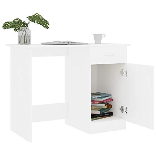Irfora Schreibtisch Computertisch mit 1 Schubladen und 1 Fächer Bürotisch PC Tisch Officetisch Arbeitstisch Gaming Tisch Desk Laptoptisch Büromöbel, Weiß 100×50×76 cm Spanplatte