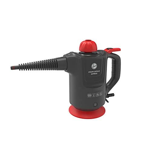Hoover SGE1000 - Limpiador vapor, Vapor seco para tejidos, Vapor húmedo para superficies duras, Múltiples accesorios, 1000W, 4 Bares, Depósito 0,37 litros, 20min, Cable 5m, Rojo, Titanio y Rojo
