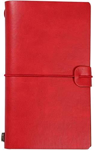 Diario de cuero escritura portátil con titulares de cuero antigua Bound viaje Revistas Sketchbook diario de papel sin forro Hombres Mujeres Rojo dljyy
