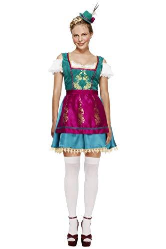 Fever, Damen Deluxe Dirndl Kostüm, Kleid, Befestigter Unterrock, Hut und Schürze, Größe: L, 43473