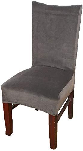 smiry Stuhlhussen für Esszimmer, Samt, Esszimmerstuhl, elastisch, Textil, dunkelgrau, 6 X