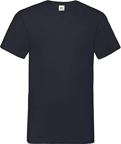 Fruit of the Loom Herren Valueweight V-Neck-Tee T-Shirt, Schwarz (Black 101), Large