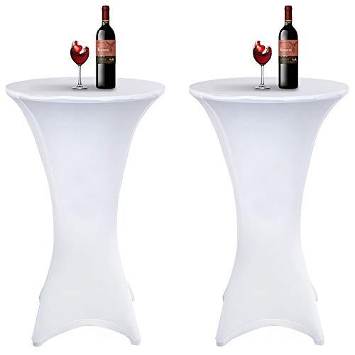 Acelectronic Tischdecke 2 Stück,Stretchy Tischhussen für Stehtische/Bistrotisch/Tischdurchmesser Ø 70-75cm in Weiß-Eleganter Tischüberzug für Tische mit 4 Füßen