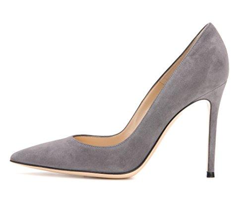 EDEFS Klassische Damen Pumps | Moderne Damen High Heels | Stiletto Schuhe | Damen Geschlossene Pumps Grau Größe EU45