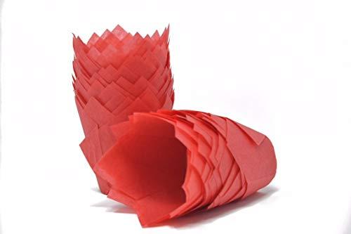 Bakery Direct, pirottini per muffin a forma di tulipano, colore rosso, 200 pezzi