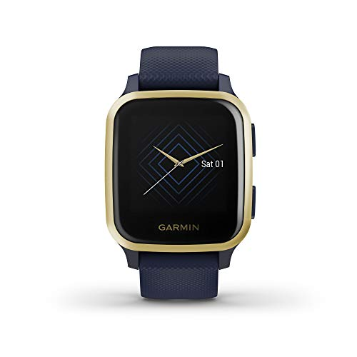 Garmin Venu Sq Music, Reloj Inteligente con GPS - Azul y Dorado