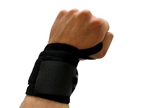 Acitveelite & # X272E polsiere sollevamento cinghie mano bar supporto per polso/per polsi//Assist & # X272E per sport e fitness lat Pulldown & # X272E ideale per Body building # X272E;, Black - black/grey