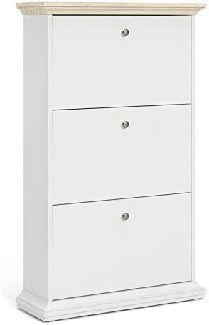 Pemberly Row 3 Drawer Shoe 2021 model White Cabinet and Oak in Our shop most popular