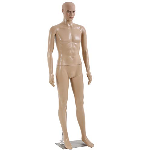Male Mannequin Torso Dress Form Mannequin Body 73 Inches Adjustable Dress Model Male Full Body Mannequin Stand Realistic Display Mannequin Head Metal Base