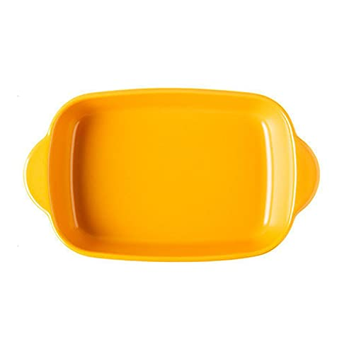 1 Piece Nordic Bakeware Binaural Baked Rice Bowl Baking Sheets Nonstick Oven Nonstick 9.5 Inches Yellow