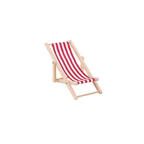 PJKKawesome 1:12 Silla Playa Miniatura Plegable Mini Silla Cubierta Césped Madera para Muñecas Red 1pc
