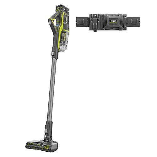 RYOBI 18-Volt ONE+ Brushless Stick Vacuum Cleaner Kit w/ 4.0 Ah Lithium-Ion High Capacity Battery and EVERCHARGE Rapid Charger