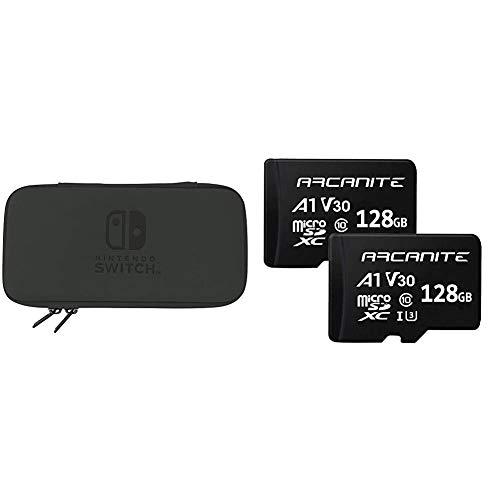 Hori, Funda Rígida Negra (Nintendo Switch Lite) + ARCANITE, pack de 2 tarjetas memoria microSDXC 128 GB, UHS-I U3, A1, V30, 4K, Clase 10, MicroSD - AK2PV30A1128