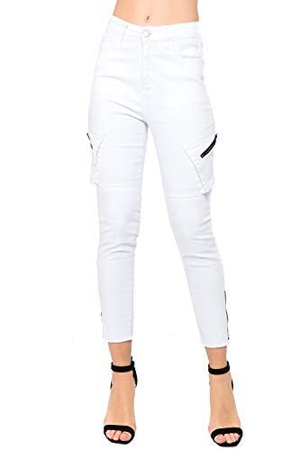TwiinSisters Women's High Rise Skinny Multi Fray Hem Zipper Pockets Utility Stretch Denim Cargo Pants