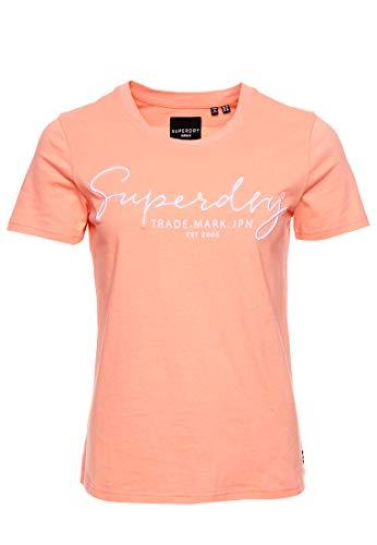 Superdry Damen Alice Script EMB Entry Tee T-Shirt, Orange (Desert Flower QNC), S