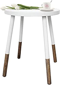 Round End Table White Side Table with 4 Legs Decorative Coffee Tea Table White End Sofa Table Night Stand for Bedroom Living Room and Balcony