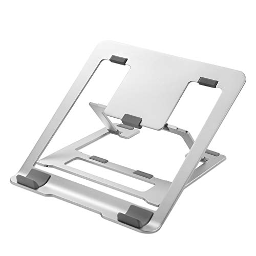 """Nllano Portable Laptop Stand Adjustable Foldable Laptop Stand for Desk, Ergonomic Aluminum Ventilated Laptop Holder Riser Compatible with MacBook/Air/Pro, Dell XPS, HP More Up to 15.6"""" Laptop Tablet"""