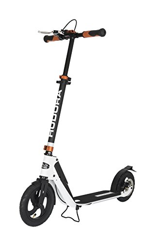 HUDORA Big Wheel Air Dual Brake Luftreifen-Scooter 230 mm, Handbremse Tret-Roller, City Scooter, 14035