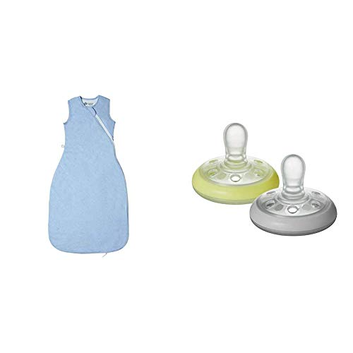 Tommee Tippee The Original Grobag, Baby Sleep Bag, 6-18m, 2.5 Tog, Blue Marl with Breast-like Soother Night Time