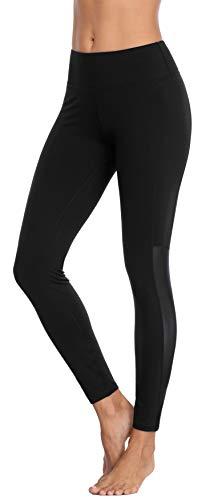 BeautyIn Yogahose für Damen mit elastische Bauch Hohe Taille Sporthose für Laufen Workout (Schwarz/Mesh, M)