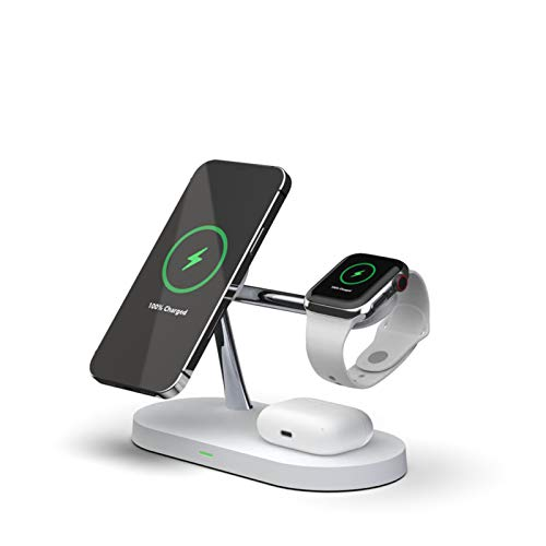 Cargador magnético inalámbrico, inteligente tres en uno de carga rápida, cargador inalámbrico para iPhone 12/App-Le Watch con función de luz nocturna