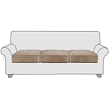 StangH Stretch Couch Cushion Covers - Soft Flexibility Luxury Velvet Sofa Cushion Covers Sofa Seat Slipcovers Replacement with Elastic Bottom for Chair T-Cushion Couch  3 Packs Taupe