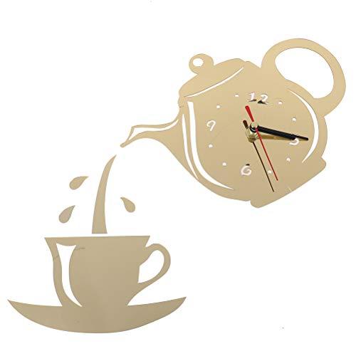 CAJHFIZHANGU 1 pieza DIY acrílico taza de café tetera 3D reloj de pared decorativo cocina relojes de pared para sala de estar comedor decoración del hogar