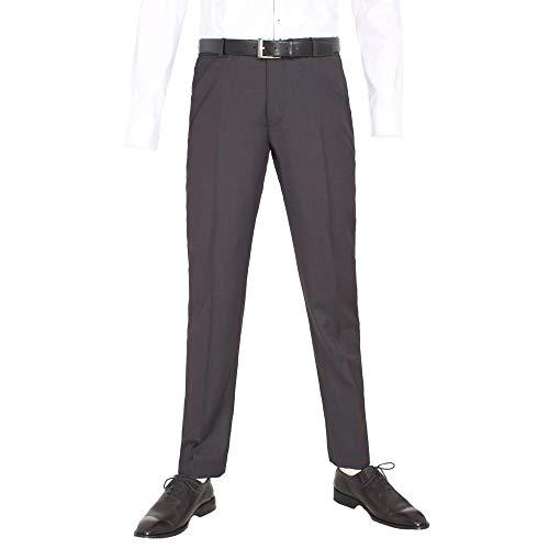 Benvenuto Black - Modern Fit - Herren Baukasten Hose Gemustert aus Super 100'S Schurwolle, Nero (20711, Modell: 62400)