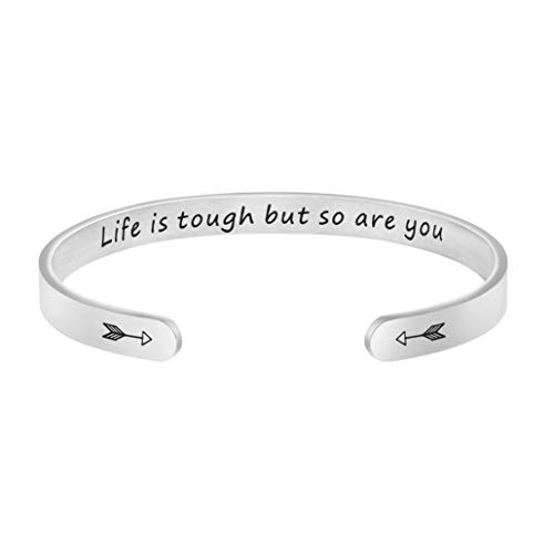 Image of the Joycuff Affirmation Jewelry Personalized Gift for Her Women Engraved Mantra Cuff Life is Tough But so are You Bracelet