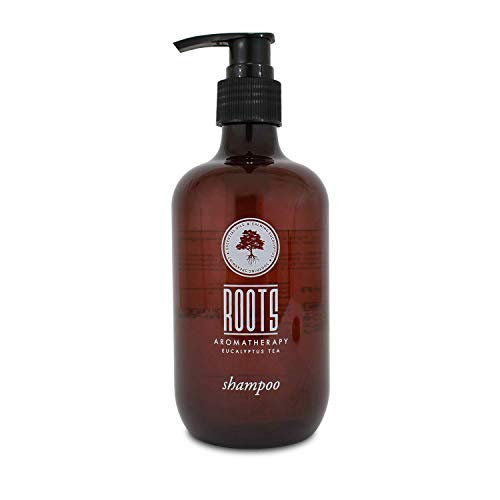 ROOTS AROMATHERAPY Shampoo 12floz/360mL Travel Size Hotel Pump Bottle (Eucalyptus Tea fragrance) Toiletries for Bathroom, Guests, Hotels, Motels, and Lodging
