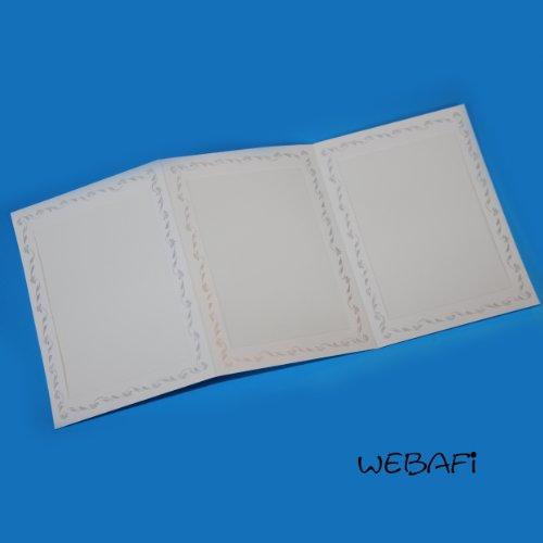 Webafi Leporellos dreiteilig 10 Stück weiß mit silbernem Blütenrand für Foto - Bildformat 13 x 18 cm Portraitmappe Innenausschnitt 11,5 x 16,5 cm Passepartout Leporello Fotomappe
