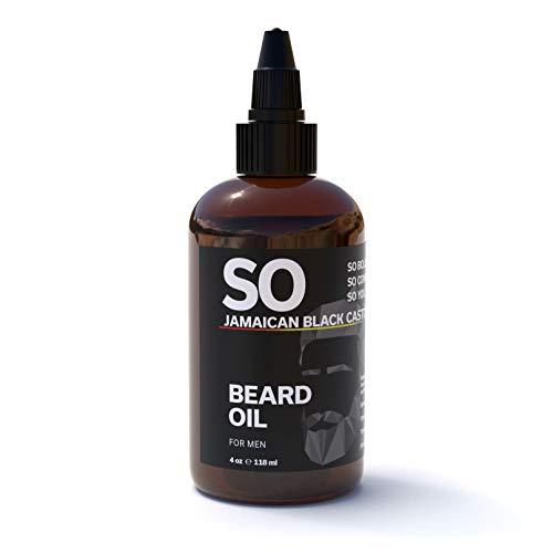 SO Jamaican Black Castor & Beard Oil Fast Absorbing | Promote Beard and Hair Growth | Best Oil For Men's Beard Growth & All Hair Textures | Grow Strong Healthy Hair | 4 oz / 118 mL