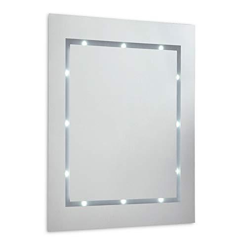 Moderne, mince, rectangulaire Miroir LED illuminé pour la salle de bain. Alimenté par piles. Designer miroir - IP44