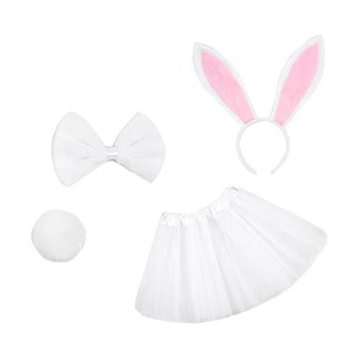 OMMO LEBEINDR Conejo de Pascua del bebé del Traje de Conejito Menina fotografía apoya Conjunto del Vestido del tutú Diadema Bowtie Falda Cola Blanca 4PCS Pascua