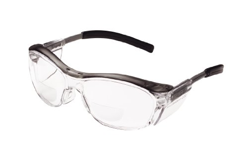 3M Nuvo Bifocal Reader Protective Eyewear 11435-00000-20 Clear Lens, Gray Frame, +2.0 Diopter