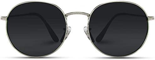 WearMe Pro Reflective Lens Round Trendy Sunglasses Silver Frame Black Lens 51 product image