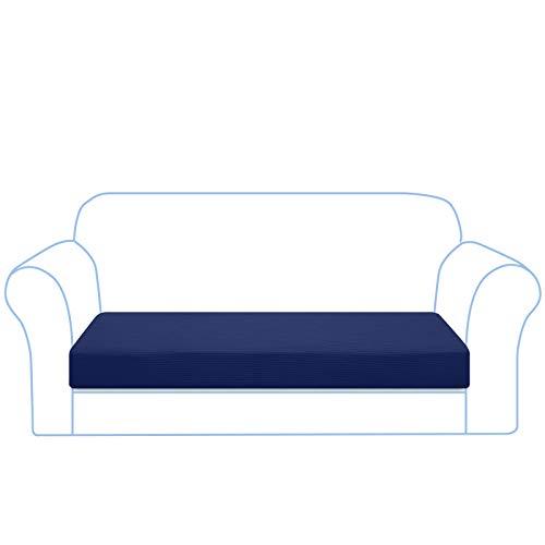 Granbest High Stretch Sofa Sitzkissenbezug Gestreifter Sofakissenbezug Jacquard Spandex Sitzkissenschutz für Sofa Maschinenwaschbar(3 Sitzer,Dunkelblau)