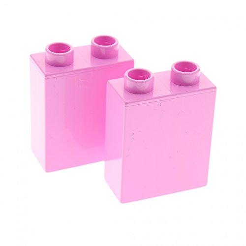 Preisvergleich Produktbild 2 x Lego Duplo Bau Stein Bright Pink rosa uni 1x2x2 Steine für Set 10571 10587 6154 10500 10505 4066
