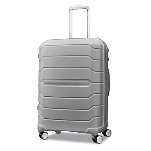 Samsonite Freeform Hardside Expandable with Double Spinner Wheels, Light Grey, Checked-Medium 24-Inch