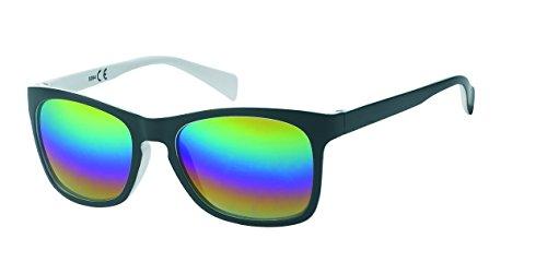 Chic-Net Espejo Gafas de Sol Retro Vendimia Web 400 UV Nerd Wayfarer Negro Colorido Blanco