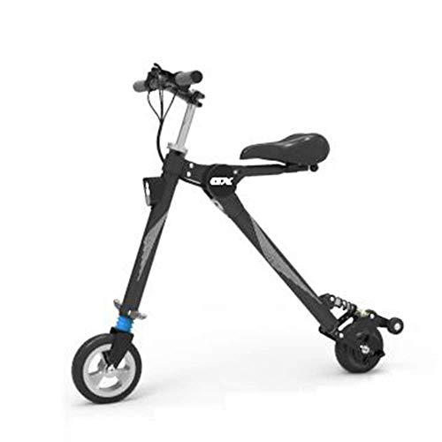 Why Choose Folding Mini Electric Car, Adult Lithium Battery Bicycle, Two-Wheel Portable Battery Car Led Lighting Can Withstand Weight 150Kg,White JIAJIAFUDR (Color : Black)