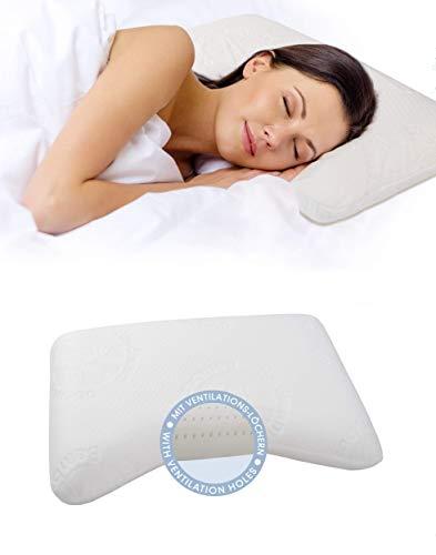 daydream 50x35x10 Kopfkissen Wellenform aus Memory Foam + Bambus-Bezug + atmungsaktiv mit Ventilationslöchern (P-21200) | Kissen für 80 x 80 cm Bezug | Kopfkissen | Nackenstützkissen | Schlafkissen | Bettkissen | Nackenkissen |